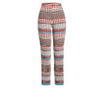 Gemusterte Straight Leg Pants aus Wolle