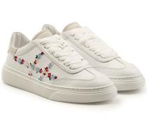 Bestickte Sneakers aus Leder