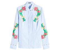 Bestickte gestreifte Bluse aus Baumwolle