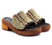 Sandalen aus Leder mit Holz-Perlen