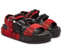 Verzierte Leder-Sandalen mit Wolle