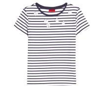 Gestreiftes T-Shirt mit Baumwolle und Décor