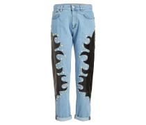 Verzierte Straight Leg Jeans mit Patches