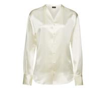 Kragenlose Bluse aus Seidensatin