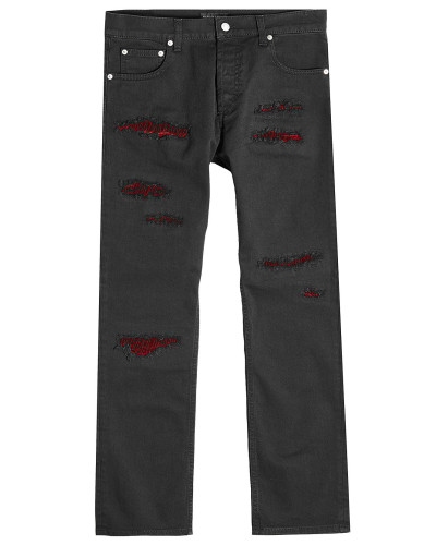 Used Jeans mit Samt-Einsätzen