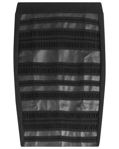 Pencil-Skirt mit Lochspitze und Leder-Optik