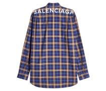 Kariertes Hemd aus Baumwolle mit Logo-Print