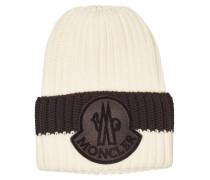 Bestickte Zopfstrick-Mütze aus Schurwolle