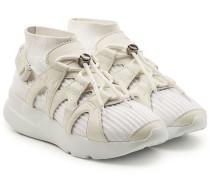Gewebte Sneakers mit Leder