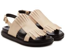 Sandalen Fussbett aus Leder mit Fransen
