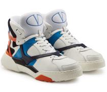 Hightop Sneakers mit Veloursleder und Leder