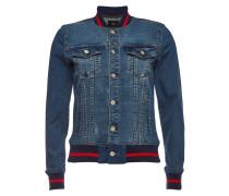 Jeansjacke mit gestreiften Bündchen