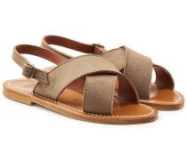Flache Sandalen aus Veloursleder