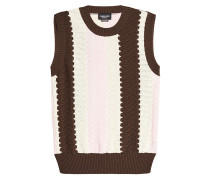 Gemusterter ärmelloser Pullover aus Baumwolle