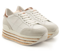 Plateau-Sneakers aus Leder, Veloursleder und Lackleder
