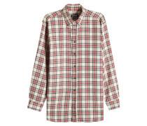 Kariertes Hemd aus Leinen und Wolle