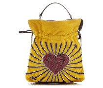Verzierte Bucket Bag Big Trilly Heart aus Velours-Ziegenleder