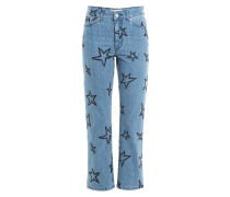 Bestickte Cropped Jeans