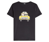 Bedrucktes T-Shirt Karl and Choupette NYC Taxi aus Baumwolle