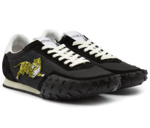 Logo-Sneakers aus Textil und Veloursleder