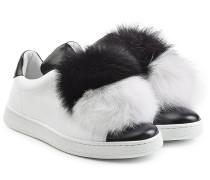 Leder-Sneakers mit Fuchsfell