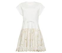 Verziertes T-Shirt-Kleid aus Baumwolle