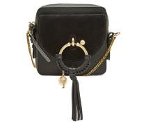 Mini-Schultertasche Joan Camera aus Leder und Veloursleder