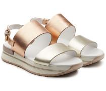 Sandalen aus Leder mit Metallic Finish