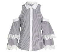 Gestreifte Cold-Shoulder-Bluse aus Baumwolle