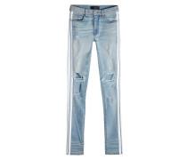 Skinny Jeans mit Distressed Details und Zierborte