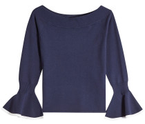 Off-Shoulder-Pullover mit Trompetenärmeln