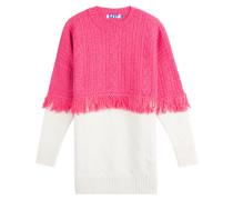 Zweifarbiger Pullover aus Wolle mit Fransen