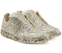 Sneakers aus Lammleder mit Glitter Finish