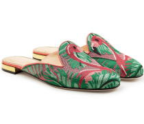 Bestickte Mules Flamingo aus Canvas