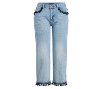 Cropped Straight Leg Jeans mit Pompons