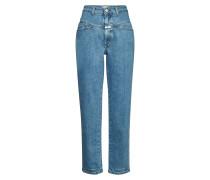 High Waist Straight Leg Jeans Pedal Pusher