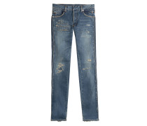 Biker Jeans im Distressed-Look