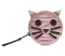 Gestepptes Portemonnaie K/Kuilted Pink Cat aus Leder