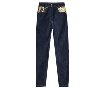 High Waist Skinny Jeans mit Print