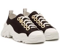 Sneakers aus Leder und Satin