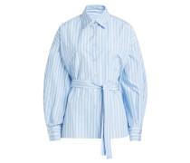 Gestreifte Bluse mit Baumwolle und Schleifendetail