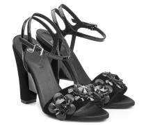 Block-Heel-Sandalen aus Samt und Leder