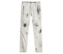 Biker Jeans im Distressed Look mit Zippern