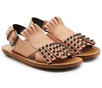 Leder-Sandalen mit Fransen und Strasssteinen