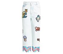 Jeans Culottes mit Patches und Spitze