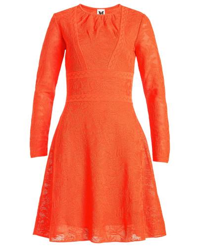 Gemustertes Kleid aus Baumwolle mit Spitze