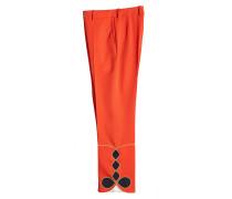 Cropped Pants mit Stickerei