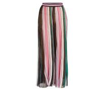 Gestreifte plissierte Wide Leg Pants mit Baumwolle