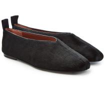Loafers aus Leder mit Kalbshaar