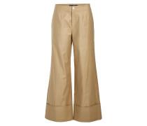 Cropped Wide Leg Pants mit Leinen und Baumwolle
